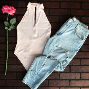 Forever 21 Tops - 💕CUTE Pale Pink BODYSUIT- BRAND NEW